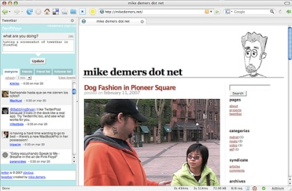 Tweetbar screengrab (Mike Demers dot net)